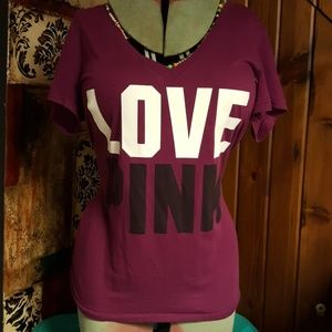 Love Pink V- Neck Victoria's Secret Tee Shirt